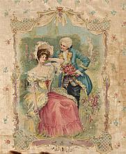 ESCUELA ROMÁNTICA, S. XIX Pareja de sedas con escenas galantes