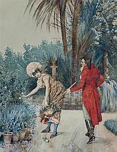 SALVADOR VINIEGRA Y LASSO, A Young Man Courting a Girl. Watercolor on paper