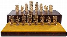 AN INDIAN CARVED IVORY CHESS SET, SECOND HALF 20TH CENTURY