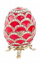 A FABERGE-STYLE CRYSTAL, ENAMEL AND ZIRCON EGG, 20TH CENTURY