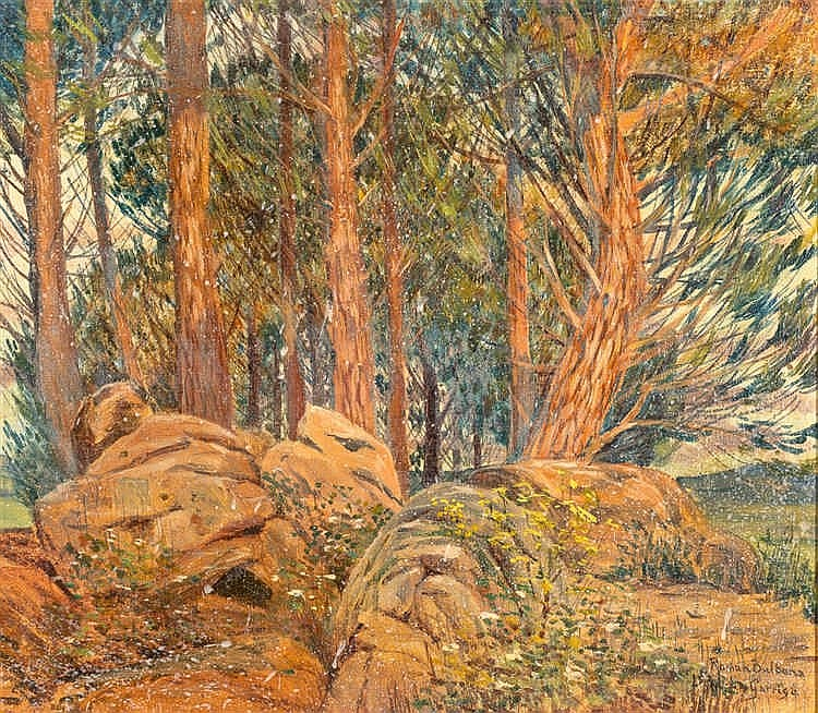 ROMÁN BULBENA, Landscape. Oil on cardboard