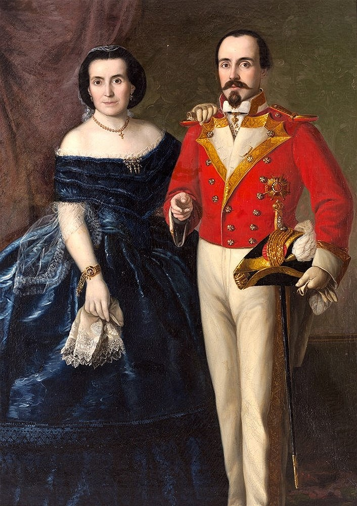 FEDERICO DE MADRAZO - A DOUBLE PORTRAIT OF A LADY AND GENTLEMAN