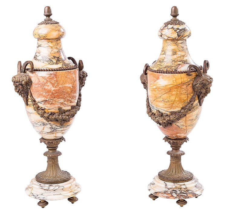A PAIR OF FRENCH BRONZE VASES, 19TH CENTURY