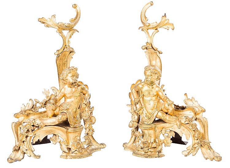 A PAIR OF FRENCH LUIS XV GILT BRONZE ANDIRONS, 19TH CENTURY