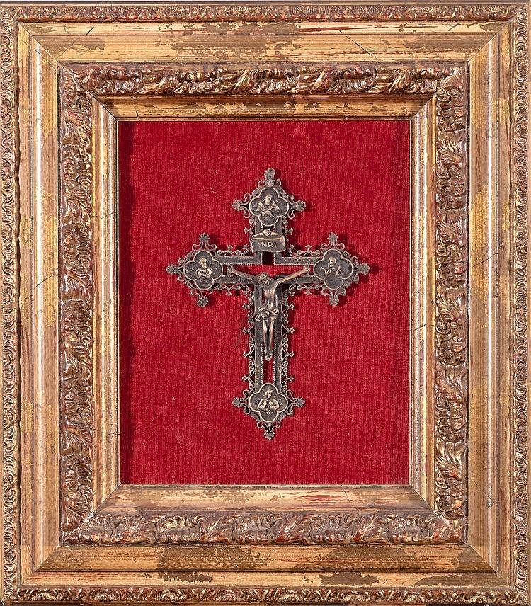 A BRONZE CRUCIFIED JESUS FIGURE, 17TH CENTURY