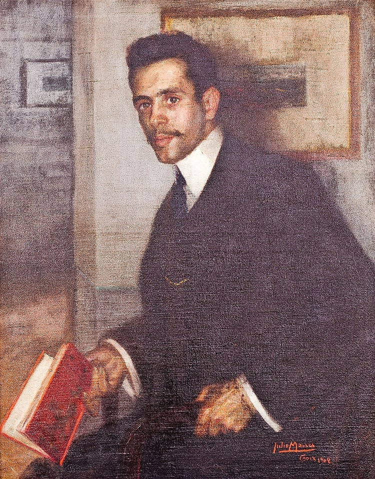JULIO MOISÉS FERNANDEZ DE VILLA - RETRATO DE CABALLERO CON LIBRO EN LA MANO