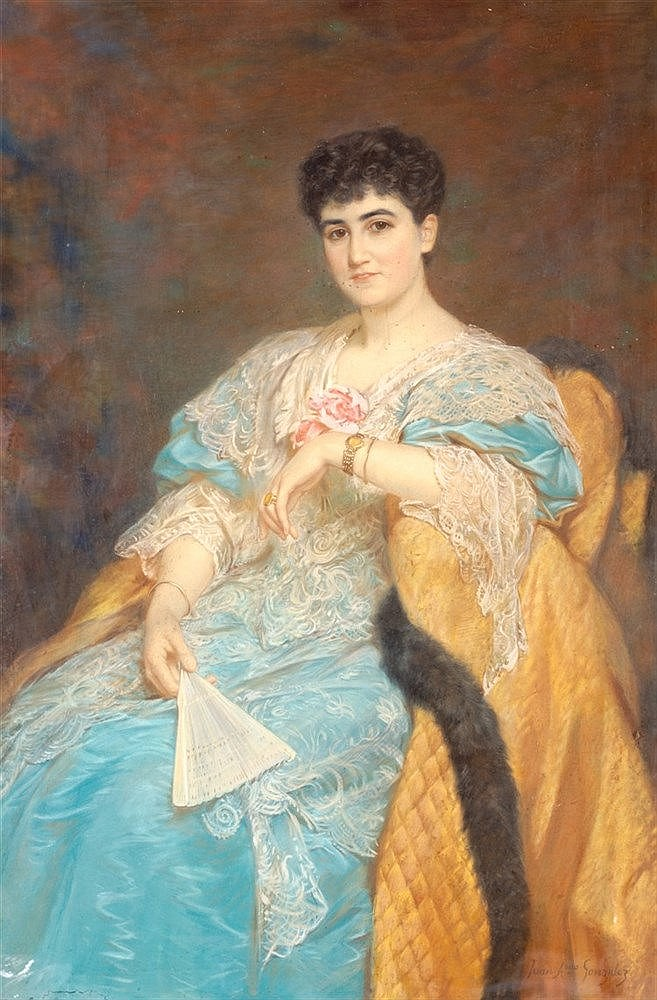JUAN ANTONIO GONZALEZ - PORTRAIT OF A LADY WITH HAND FAN