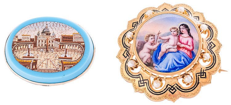 A GOLD, PEARL AND ENAMELED PORCELAIN SCENE BROOCH
