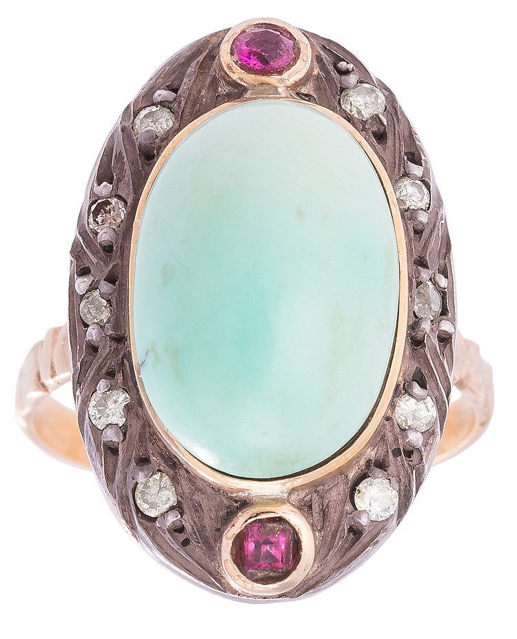 A GOLD, SILVER, TURQUOISE RUBY AND DIAMOND RING