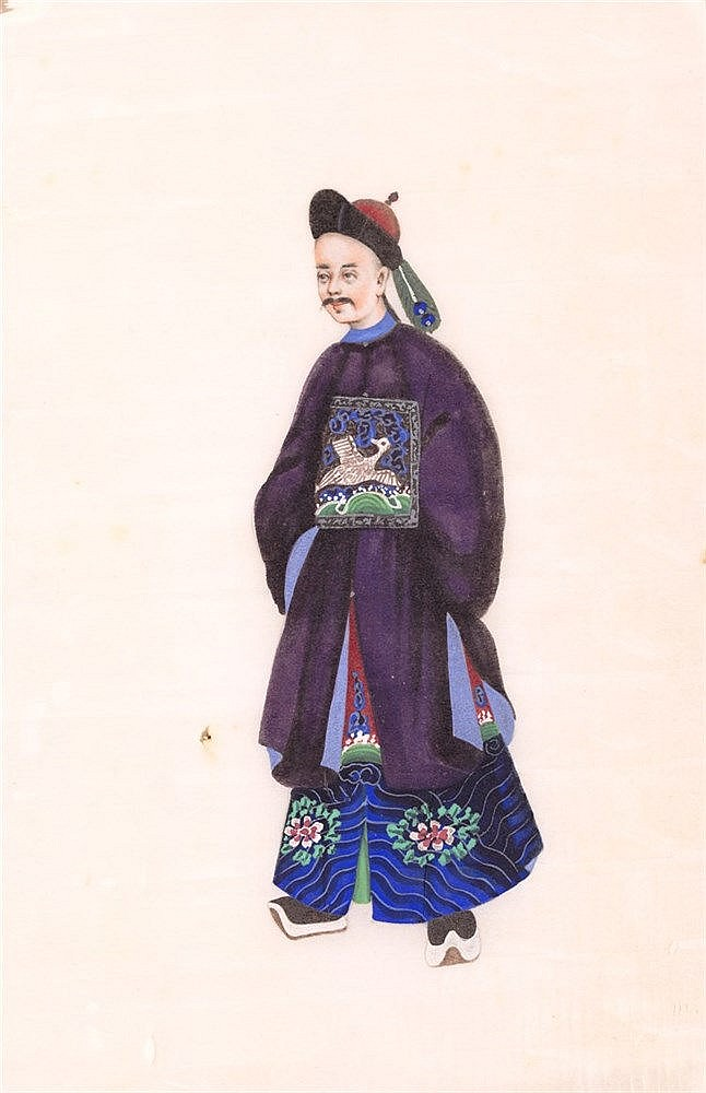 AN ALBUM WITH SIX CHINESE RICE PAPER GOUACHE PAINTINGS