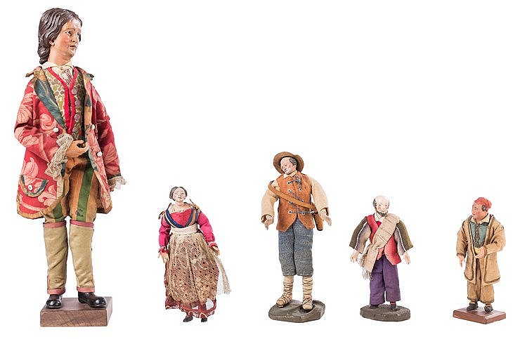 A SET OF FIVE NEAPOLITAN NATIVITY SCENE  FIGURES, 19TH CENTURY
