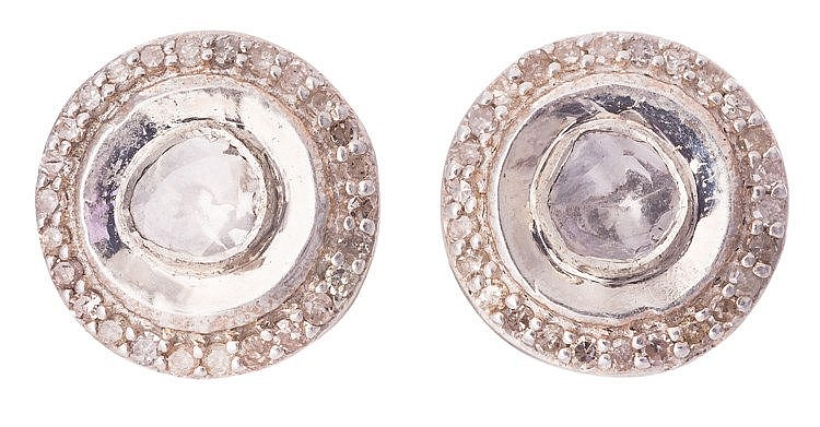 A PAIR OF STERLING SILVER AND DIAMOND EARRINGS