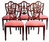 A SET OF SIX HEPPLEWHITE STYLE CARVED WOOD, CHAIRS, EARLY 20TH CENTURY