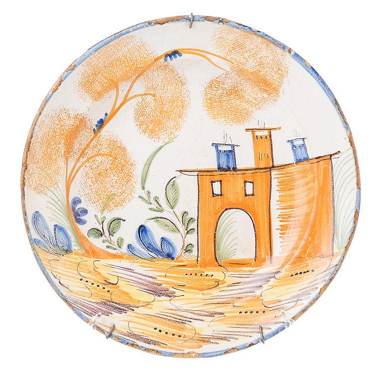 AN EARTHENWARE (MANISES) DISH, 19TH CENTURY