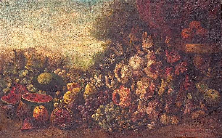JOSE GOMEZ CAMACHO Y JEREZ - STILL LIFE WITH FLOWERS AND WATERMELON