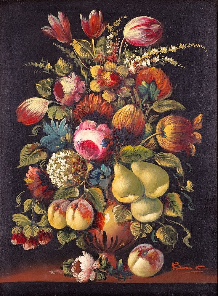 AFTER BAROQUE MODELS, 2OTH CENTURY - VASE OF FLOWERS AND FRUIT