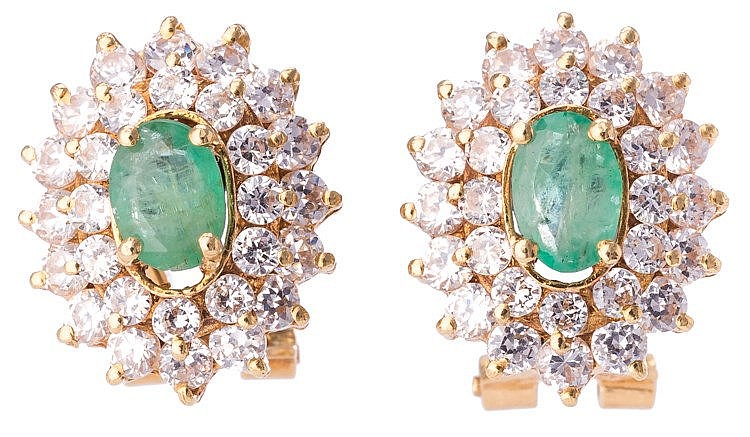 A PAIR OF GOLD, EMERALD AND ZIRCON EARRINGS