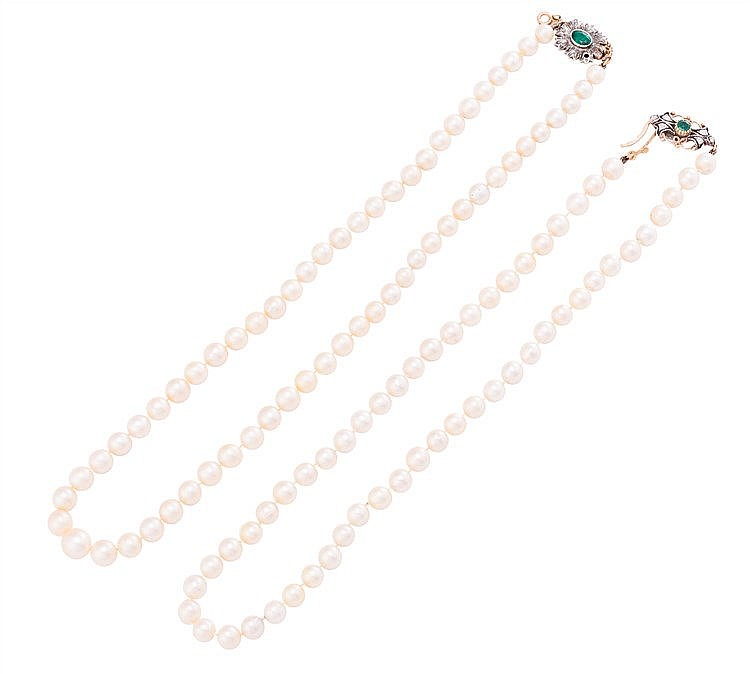 A GOLD, PEARL, EMERALD AND DIAMOND NECKLACE