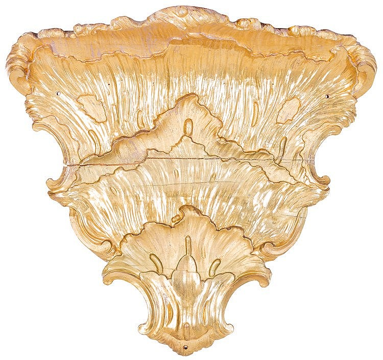 A CARVED GILT WOOD ARCHITECTONIC ELEMENT