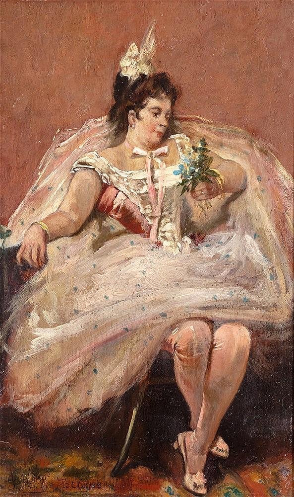 JOSE GALLEGOS Y ARNOSA (JEREZ DE LA FRONTERA, 1857 - ANZIO, ITALY, 1917) - LADY IN WHITE