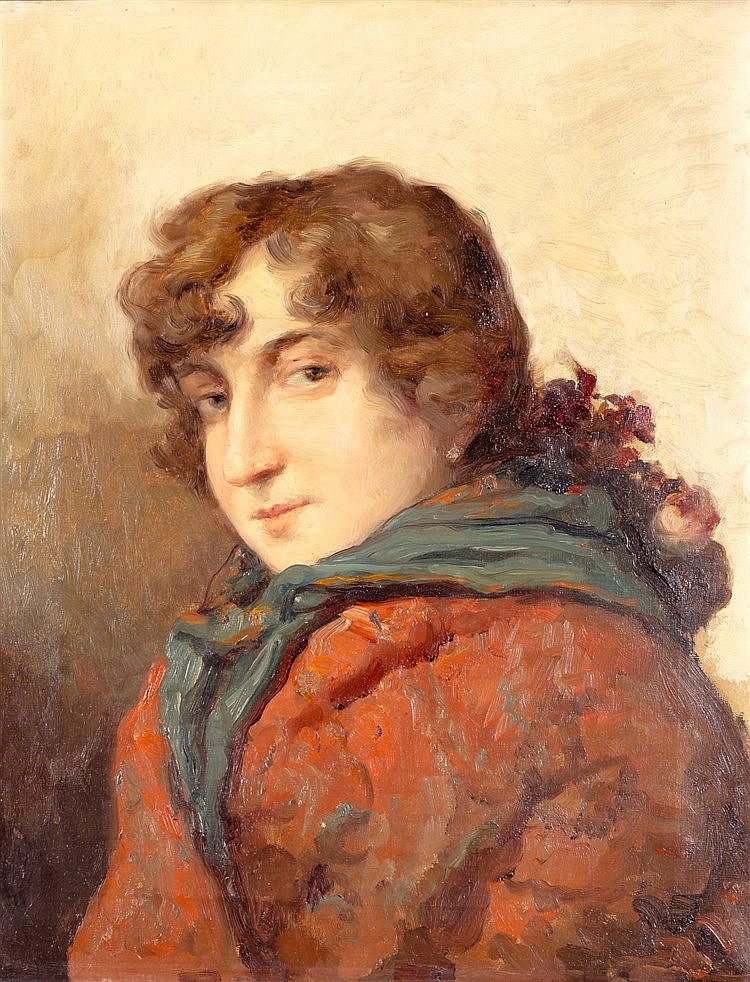 JOSE MARIA ALARCON CACERES - PORTRAIT OF A LADY WITH GREEN SCARF