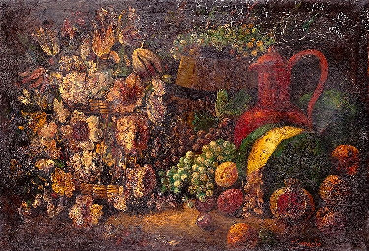 JOSE CAMACHO Y GOMEZ - STILL LIFE WITH FLOWERS AND GRAPES