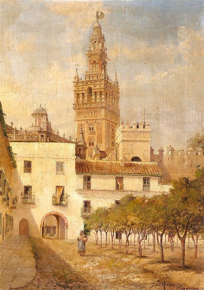 JOSÉ MONTENEGRO CAPELL - LA GIRALDA DESDE EL PATIO DE BANDERAS
