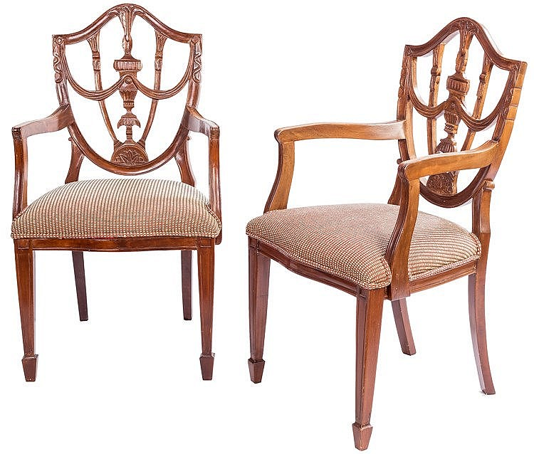 A PAIR OF ARMCHAIRS, 2OTH CENTURY