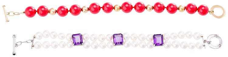 A GOLD, AMETHYST AND PEARL BRACELET
