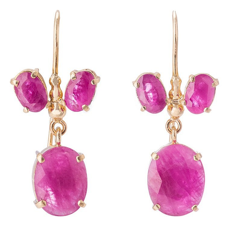 A PAIR OF GOLD AND SYNTHETIC RUBY EARRINGS