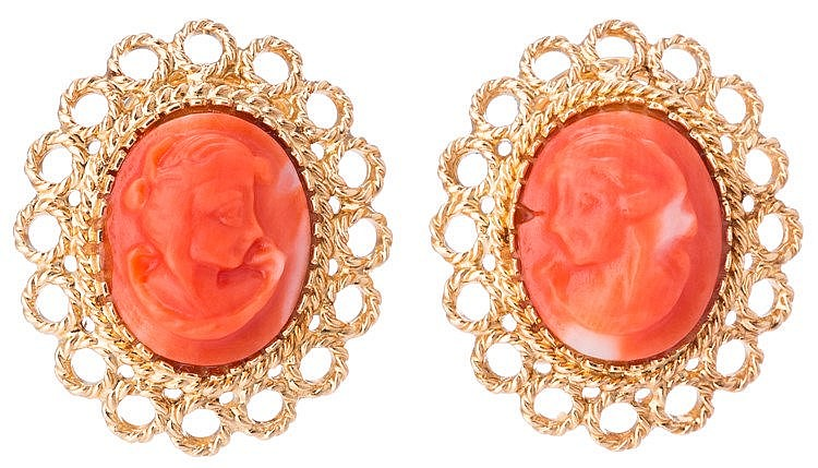 A PAIR OF GOLD AND CORAL CAMEO EARRINGS