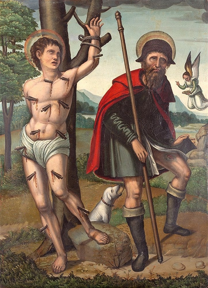 ANTONIO VAZQUEZ - SAINT SEBASTIAN AND SAINT ROCH. CIRCA 1540-1545