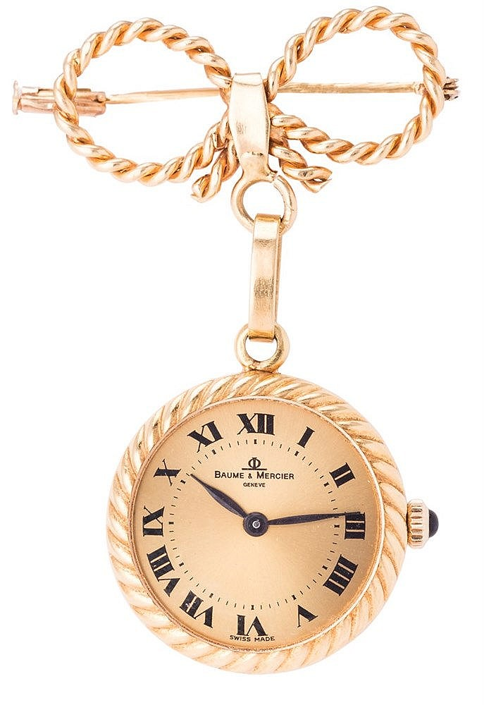 A LADY'S BROOCH-WATCH, BY BAUME & MERCIER GENEVE