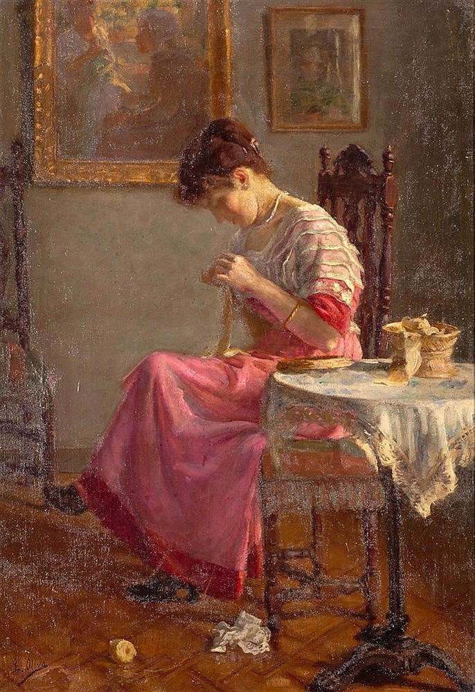 EUGENIO OLIVA Y RODRIGO - A LADY SEWING