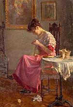 EUGENIO OLIVA Y RODRIGO - A LADY SEWING