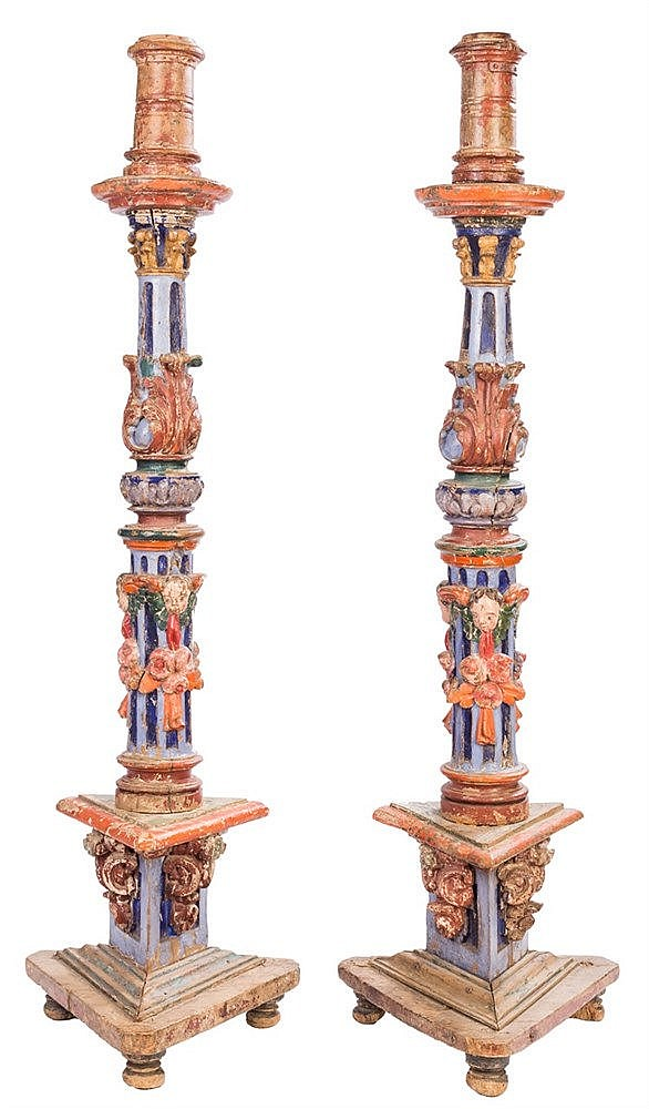 A PAIR OF CANDLESTICKS, 18TH CENTURY