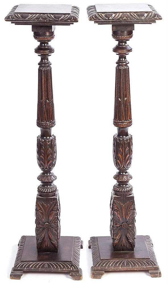 A PAIR OF WALNUT PEDESTALS, 20TH CENTURY