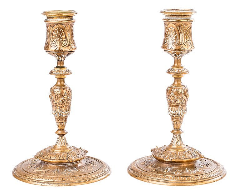 A PAIR OF GILT BRONZE CANDLESTICKS, 19TH CENTURY