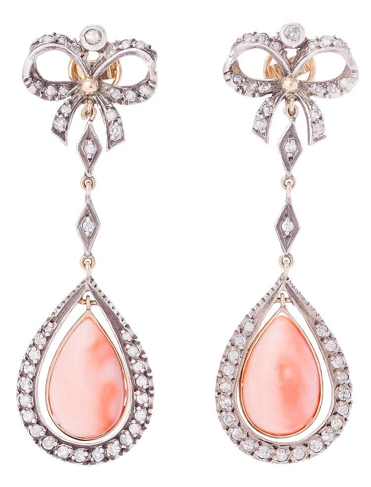 A PAIR OF GOLD, SILVER, CORAL AND DIAMOND EARRINGS
