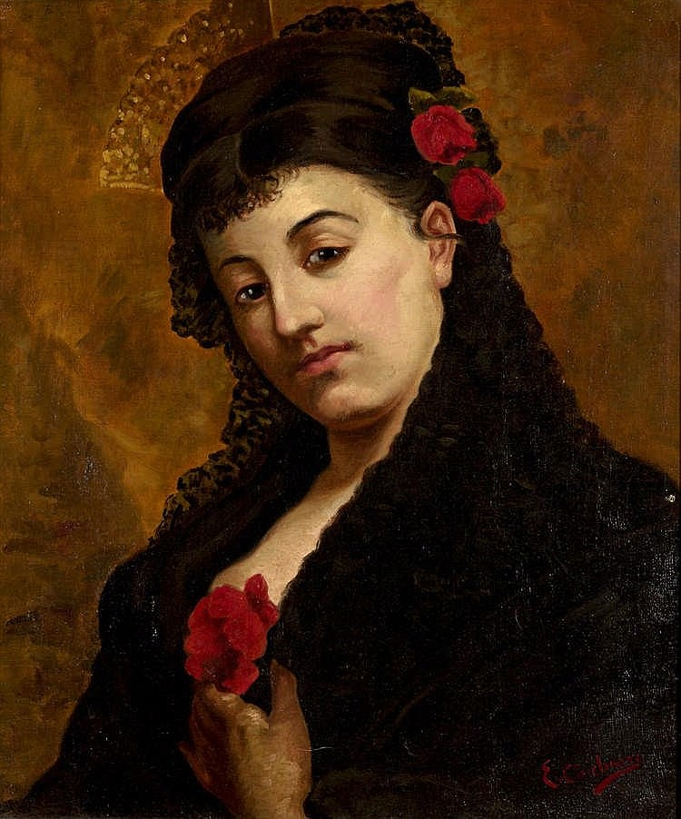 EDUARDO CHICHARRO Y AGÜERA - LADY WITH ROSES AND MANTILLA