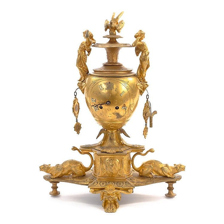 A FRENCH NAPOLEON III BRONZE TABLE CLOCK, LATE 19TH CENTURY