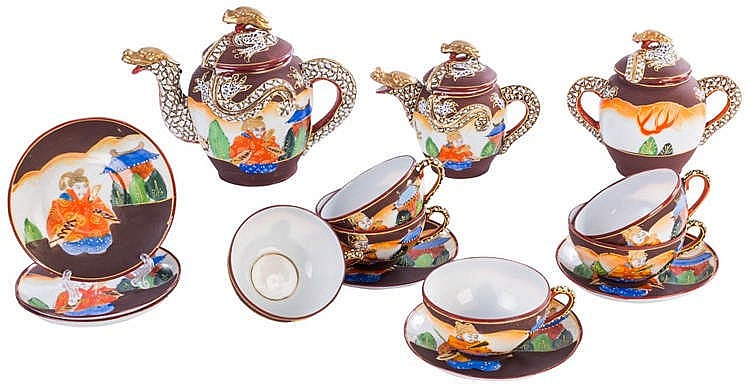 A SATSUMA EARTHENWARE COFFEE SET, CIRCA 1940-1950