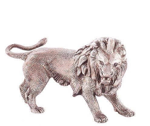 A SILVER LION FIGURE