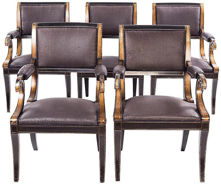 A SET OF SIX FRENCH ARMCHAIRS