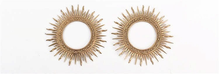 A PAIR OF GILT METAL CROWNS