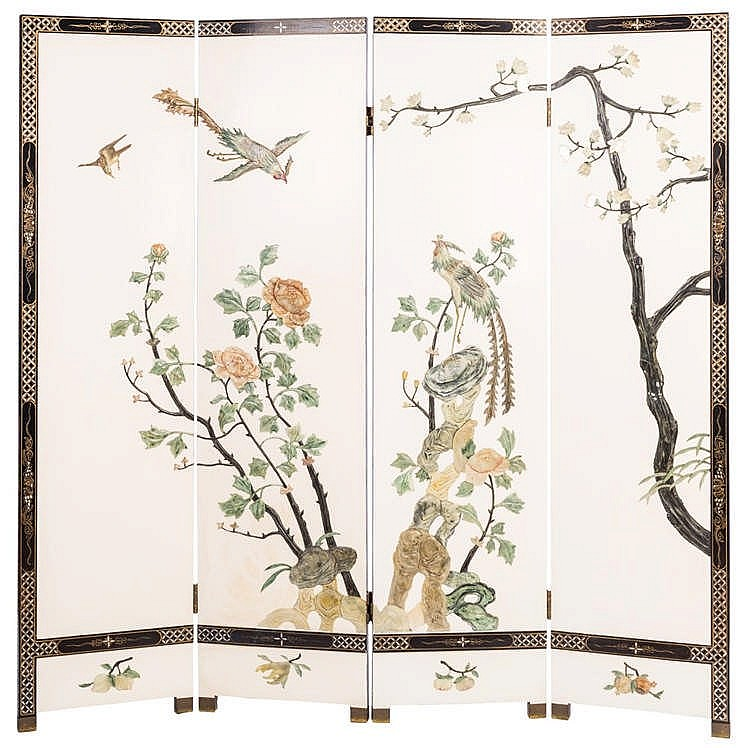 A CHINESE FOUR-LEAF SCREEN,19TH CENTURY