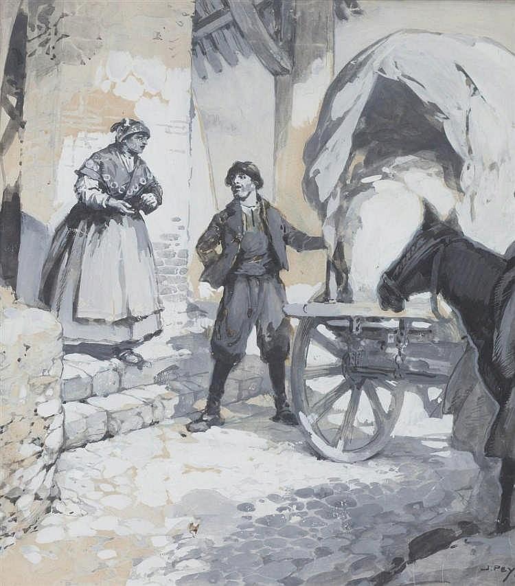 JOSEP PEY I FARRIOL - CAMPESINOS CON CARRO
