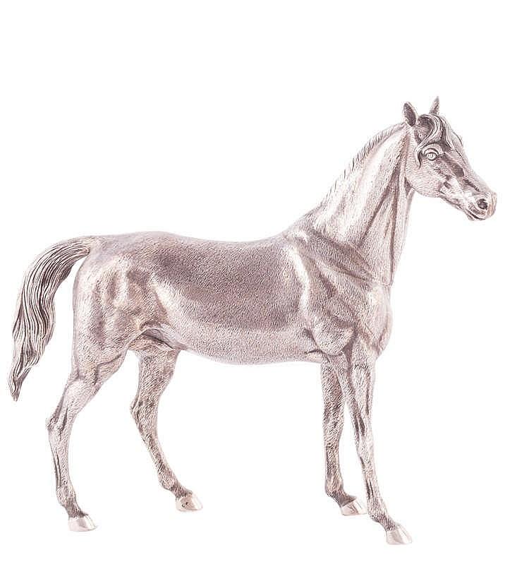 A SILVER HORSE FIGURE, 20TH CENTURY