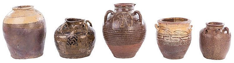 A SET OF FIVE ORIENTAL TERRACOTTA CLAY VESSELS, 19TH CENTURY