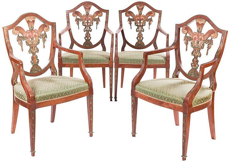 A SET OF FOUR HEPPLEWHITE STYLE CHAIRS, 20TH CENTURY